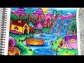 Cara Menggambar dan Mewarnai Pemandangan Alam Air terjun dan Rumah - Gradasi Warna Oil Pastel