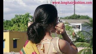 Long Hair Lady At Rooftop Showing Her Beautiful Hair & Big Bun Making