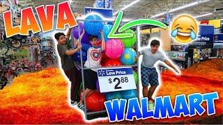 FLOOR IS LAVA CHALLENGE AT WALMART! *FUNNIEST LAVA CHALLENGE*