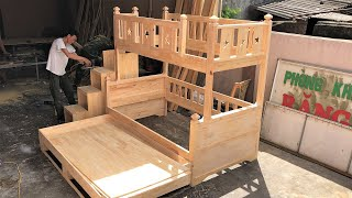 Amazing Design Ideas DIY Smart Bunk Bed | Woodworking Projects Smart Furniture Space Saving For Home