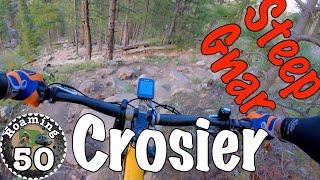 Descending the steep gnar on Crosier