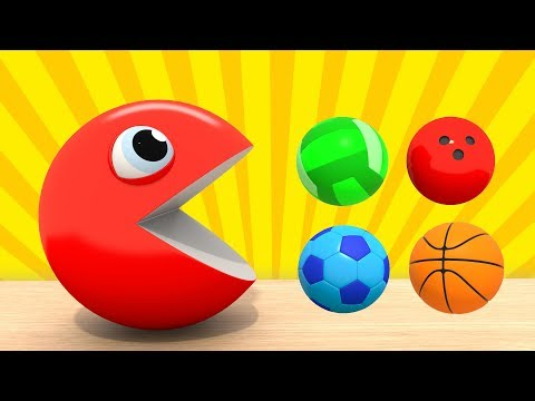 Изучаем Цвета  | ПАКМАН - Цветные Спортивные Мячи | Развивающие мультфильмы для малышей ВолшебствоТВ