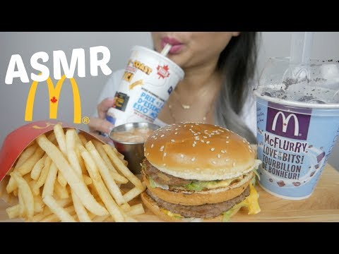 ASMR McDonald's Big Mac Meal with Oreo McFlurry *NO Talking Eating Sound | N.E Let's Eat
