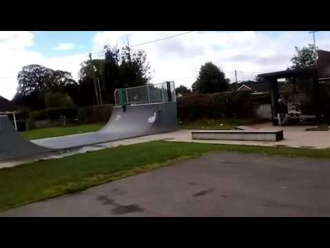 Skateboarding at Llanymynech Skatepark
