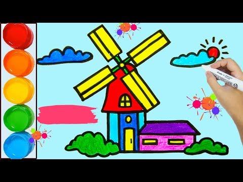Zeichnen und färben windmühle für Kinder | Künstlerische Farben für Kinder | Lernvideo für Kinder