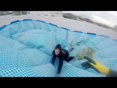 SWIMMING POOL SWEPT AWAY IN WIND STORM (SCARY)