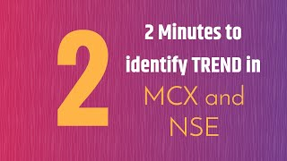 In 2 Minutes identify trend of ANY MCX Commodity or NSE Stock