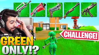 The GREEN *ONLY* CHALLENGE! (My HARDEST Challenge Yet!) - Fortnite Battle Royale