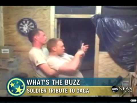Soldiers put on a Lady Gaga Performance