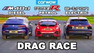 [carwow] BMW X4 M40d v Civic Type R v Audi e-tron: DRAG RACE *Diesel v Petrol v Electric*