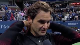 "Roger Federer Interview after Tiafoe Match - ""happy to be back"" US Open 2017 [HD60]"