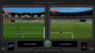 FIFA 98 (Sega Saturn vs Playstation) Side by Side Comparison | Vc Decide