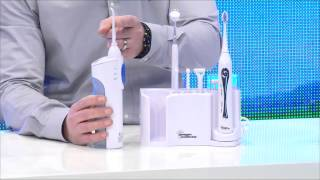 newgen medicals Zahnpflege-Set mit 10 Aufsätzen, Spiegel & Munddusche