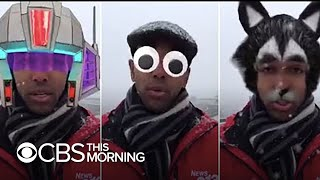 TV reporter accidentally does weather report with Facebook's googly-eye filter on