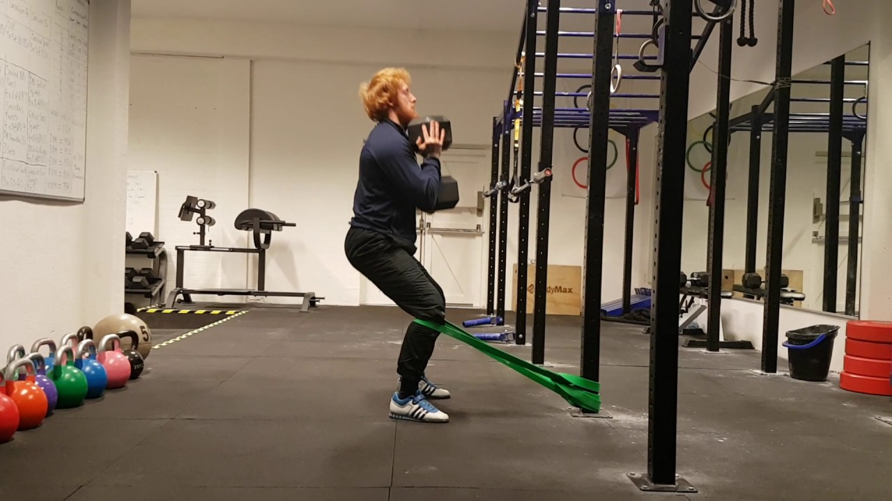 Sissy Squat with Resistance Bands - 50kg Dumbbells