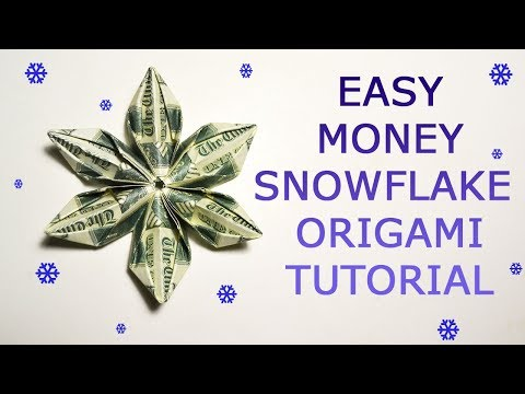 Easy Money Snowflake Origami Dollar Tutorial DIY Folded No Glue