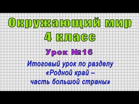 Окружающий мир 4 класс (Урок№16 - Итоговый урок по разделу «Родной край – часть большой страны»)