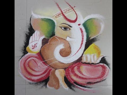 how to make ganesha rangoli design by various arts