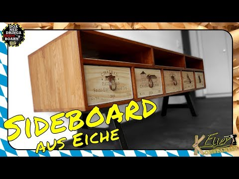 Eiche Sideboard mit Weinkisten Schubladen - So wirds gemacht! |Oak Sideboard with Wine Boxes Drawers