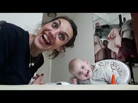 Baby talks with her mother