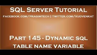 Dynamic sql table name variable