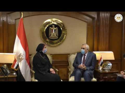 لقاء السيدة/نيفين جامع وزيرة التجارة والصناعة مع سفير العراق بالقاهرة