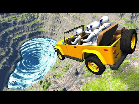 BeamNG Drive - Leap Of Death Car Jumps & Falls Into Giant Deadly Water Vortex