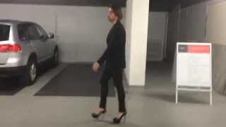 Man in high heels and leather leggings (YSL Tribute, Prada, SHY boots)