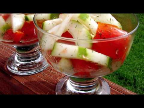 , title : 'Recipe: Crispy Cucumbers and Tomatoes in Dill Dressing