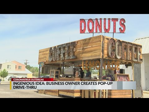 , title : 'Business owner opens pop-up drive through coffee shop