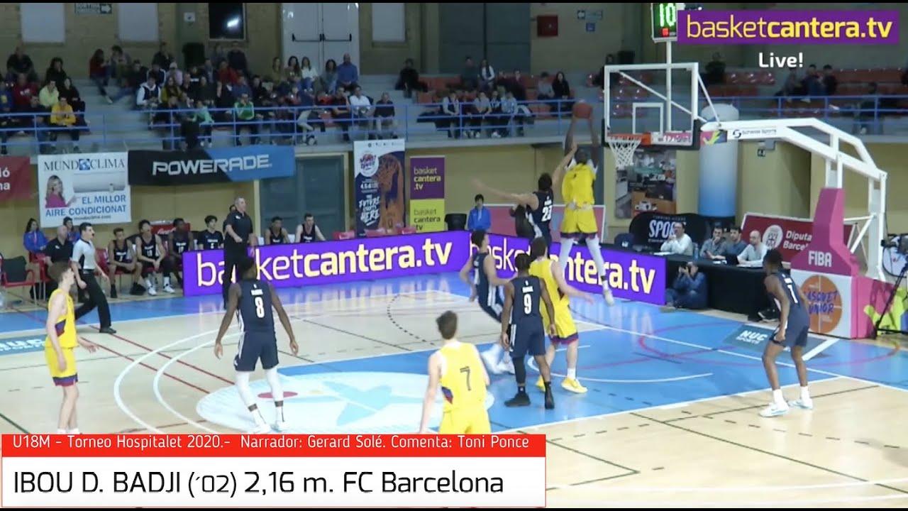 IBOU D. BADJI (´02) 2,16 m. FC Barcelona.- Torneo Hospitalet 2020 (BasketCantera.TV)