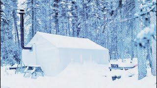 -34C FREEZING COLD WINTER CAMPING ALONE in a HOT TENT