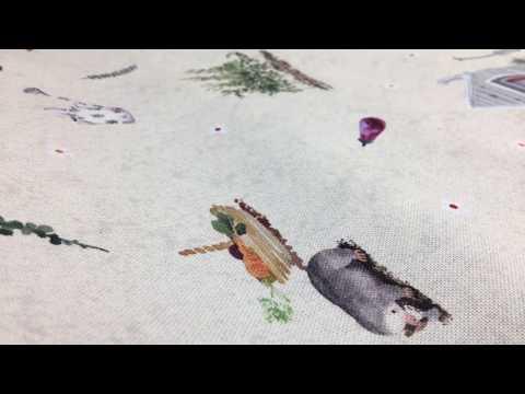 Baumwollstoff Dekostoff Digitaldruck Wald Gärtnerei Haus Hase Fuchs beige grün braun