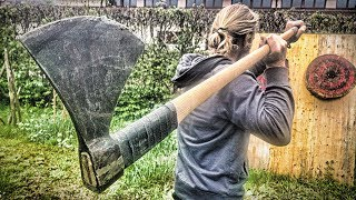 LONGEST Axe Thrown EVER (Viking Dane Axe)