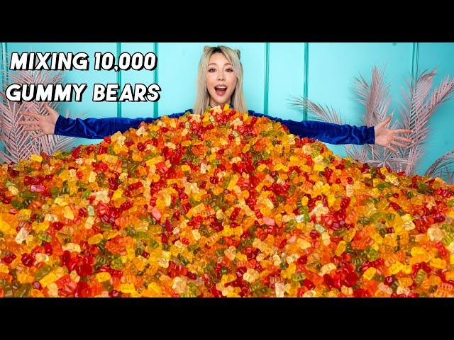 Mixing Together 10,000 Gummy Bears Into One Giant Gummy Bear