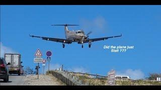 STALLED LANDING OVER ROAD!? PC12 landing at St. Barts