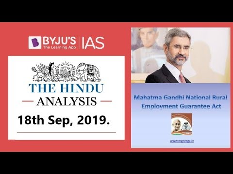 'The Hindu' Analysis for 18th September, 2019 (Current Affairs for UPSC/IAS)