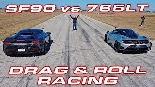 CLASH of the TITANS * 1,000 HP Ferrari SF90 Stradale vs McLaren 765LT Roll and Drag Racing by DragTimes