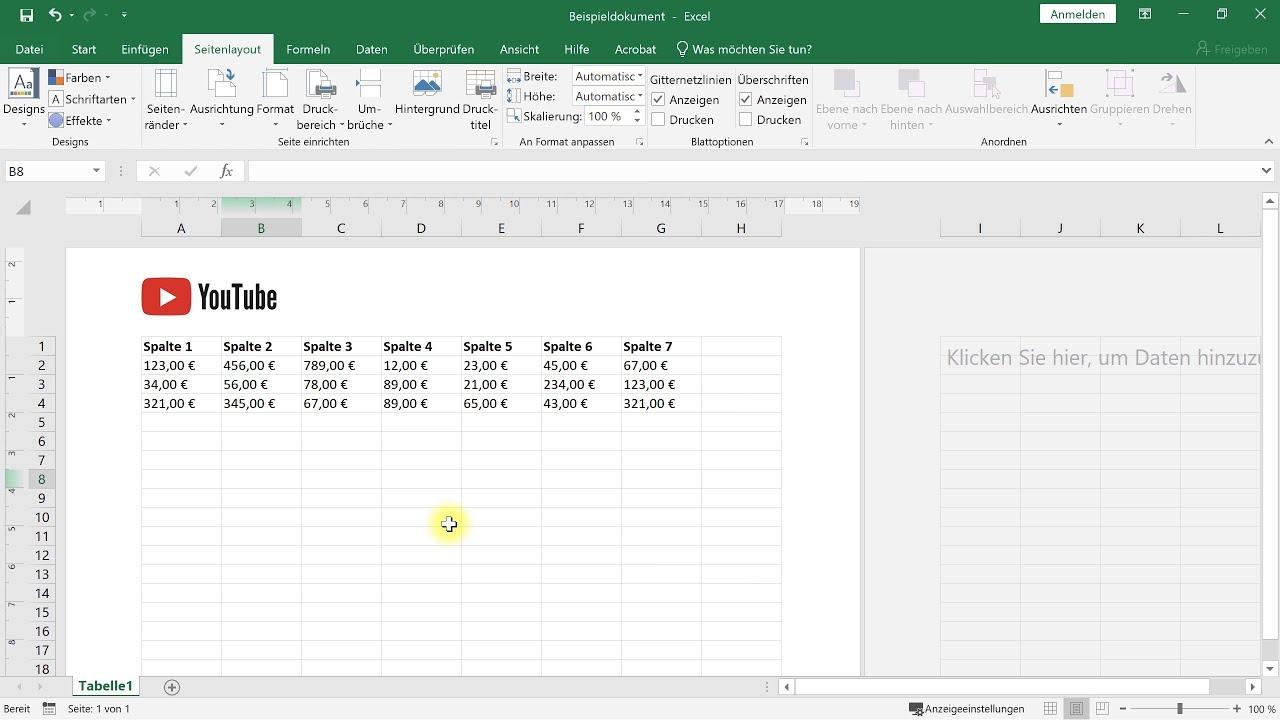 Kopfzeile und Fußzeile bearbeiten und Logo einfügen – Excel-Tutorial