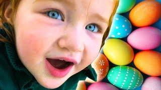 SURPRISE EGG HUNT and trampoline egg jump!!