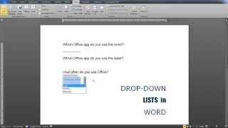 Drop-down lists in Word: Insert, modify, use a format to style contents