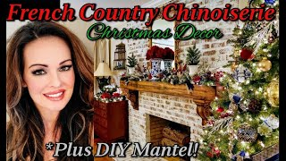 French Country Chinoiserie Christmas Décor And DIY Mantel Thrifted Décor And Antique Store Finds