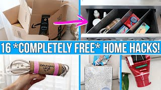 16 *COMPLETELY FREE* HOME HACKS THAT WILL BLOW YOUR MIND! 🤯