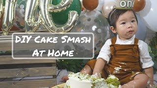 baby's first birthday cake photo shoot