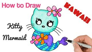 How to Draw Hello Kitty Mermaid cute and easy