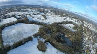 Walking in the air! Hd aerial snow footage. Fpv drone flight in the Leeds Bradford area.