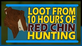 [OSRS] LOOT From 10hrs of RED CHIN HUNTING   Starting With 65 Hunter