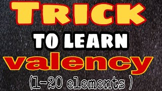 Valency Trick: Trick to find valency of 1 to 20 elements,Trick to learn valency of 1 to 20 elements