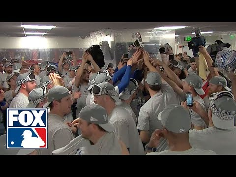 Watch the Los Angeles Dodgers celebrate their 2nd straight National League Pennant   FOX MLB