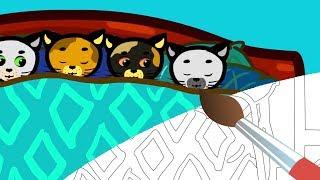 Десять Котят 😺 Мультик Раскраска - Три котенка 🎨 Учим Цвета с малышами